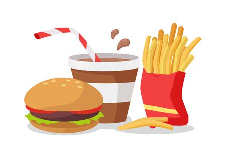 hamburger and fries: Hamburger, Fries in Red Bag, Soda or Cola Illustration