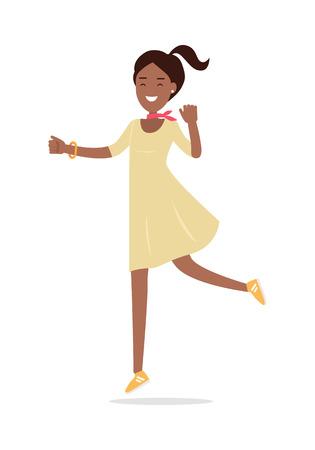 Beautiful Happy Woman Flat Vector Illustration
