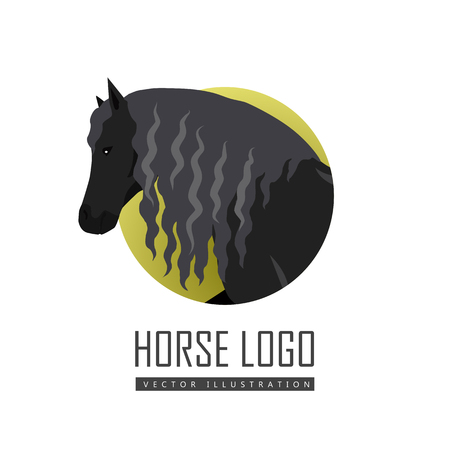 curly tail: Draft Horse Vector Illustration in Flat Design