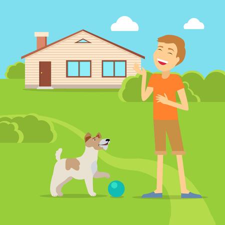 sanguine: Sanguine Temperament Type Boy with Dog.