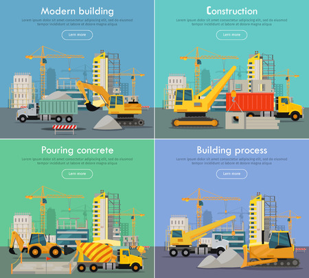 residential houses: Process of Construction Residential Houses Isolated Illustration
