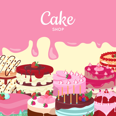 Cake Shop. Set of Decorated Cakes. Confectionery Illustration