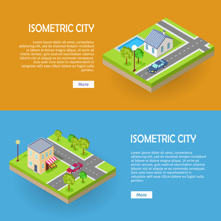 trees services: Set of Isometric City Vector Web Banners Illustration