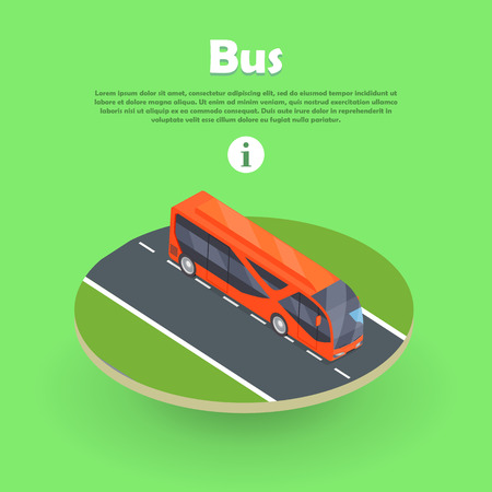 Isometric Bus on Part of Road Web Banner. Vector