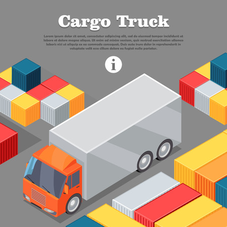 Cargo Truck and Intermodal Containers Web Banner.
