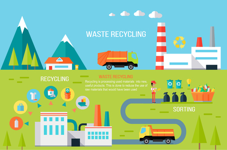 Waste Recycling Infographic Vector Concept. Çizim