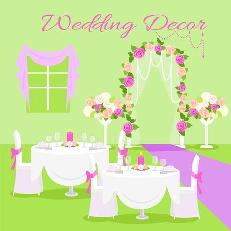 perls: Wedding Ceremony Decor Flat Design Vector Concept