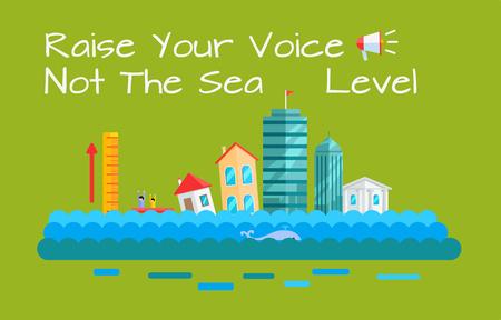 Warming and Sea Level Increase Vector Concept. Vektorové ilustrace