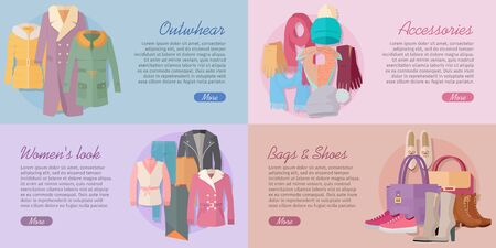 winter clothing: Woman s Clothing Bags and Accessories Banners Set Illustration