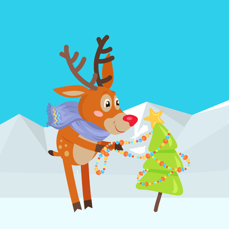 Christmas Tree Decoration Vector Cartoon