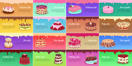 Collection of Chocolate Cakes. Greeting Cards Stok Fotoğraf - 69932835