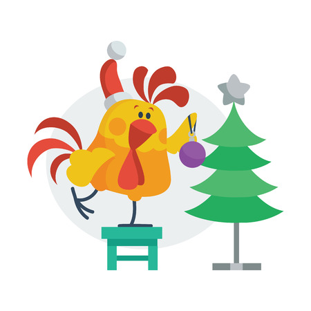 Rooster Bird Decorates Christmas Tree. Cock in Hat Illustration