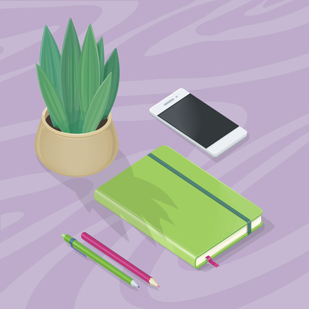 Desk with Mobile Phone, Pencils, Plant, Note Book