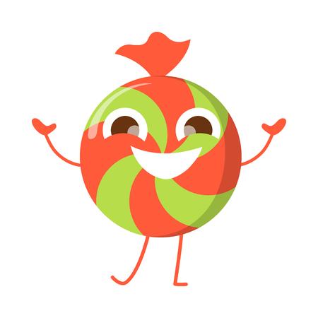 Caramel Candy Smiling Character Isolated. Bonbon Ilustração