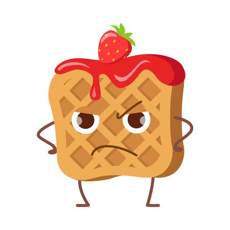 Upset Waffle with Jam and Strawberry Isolated.
