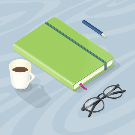 Desk with Note Book, Glasses Pen and Cup of Coffee