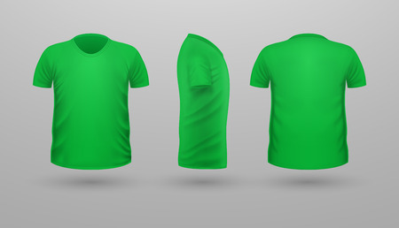 T-shirt Template Set. Front Side Back View.
