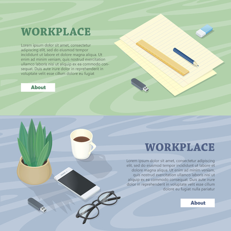 Desk with Mobile Phone, Glasses, Plant Flash Drive