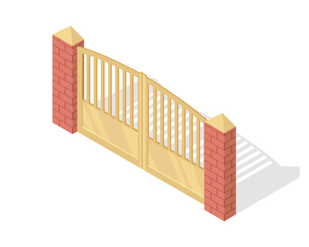 Metal Gate Vector Icon In Isometric Projection