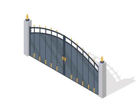 metal gate: Metal Gate Vector Icon In Isometric Projection
