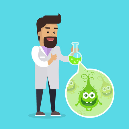 Bacteriologist with Bacteria in Glass Flask Vector