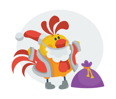 Rooster Bird in Santa s Cloth with Bag Presents Illustration