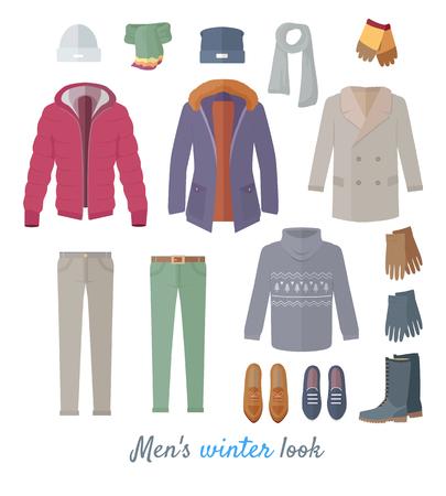 男性のフラットで冬の外観ベクトル概念設計します。  イラスト・ベクター素材