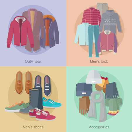 warm clothing: Men s Clothing. Outerwear. Mens Look. Mens Shoes. Illustration