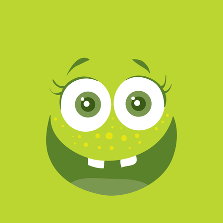 child tongue: Funny Smiling Monster Smile Bacteria Character