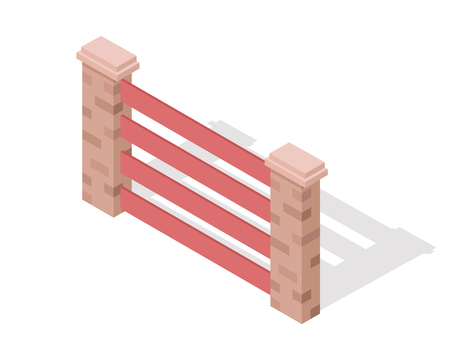 hedge: Wooden Fence Vector In Isometric Projection