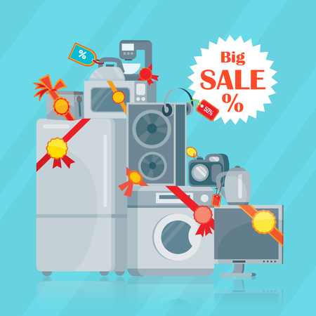 Big Sale in Electronics Store Vector  Flat Concept