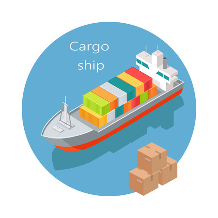 Cargo Ship Vector Icon in Isometric Projection Illustration