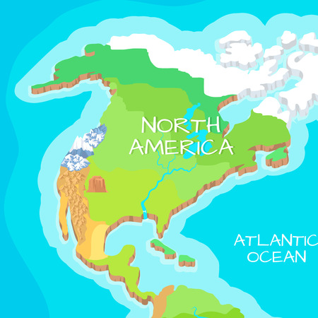 relief: North America Mainland Cartoon Relief Map Stock Photo