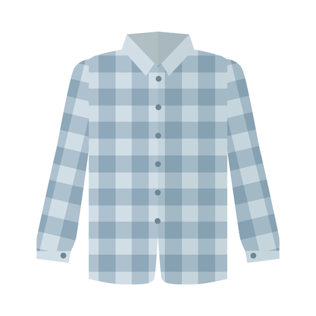 Checkered Grey Shirt Flat Style Illustration