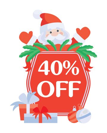 Christmas 40 Off. Santa with Sale Poster Stock Photo