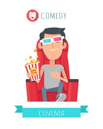 entertaining: Comedy Story. Man in Cinema Seat Entertainment Stock Photo