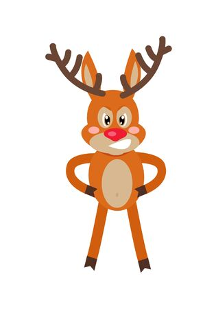 Angry Deer Cartoon Flat Illustration Stock Photo