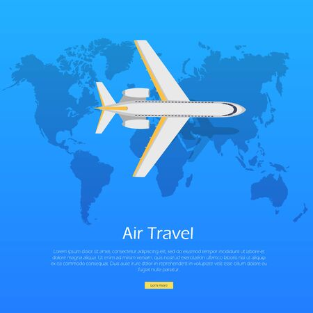 chassis: Air Travel Concept. Plane on World Map Web Banner.