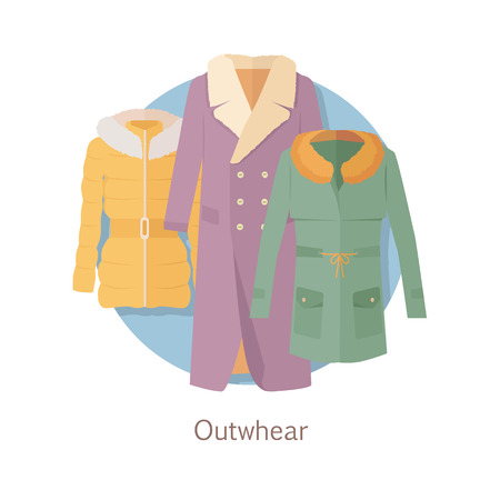 Outerwear Web Banner. Winter Collection for Woman Illustration