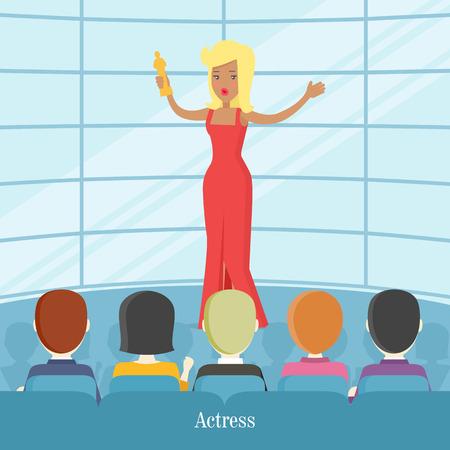 superstar: Actress Superstar. Women in Front of Audience