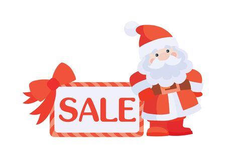 Christmas Sale Vector Icon. Santa with Poster  イラスト・ベクター素材