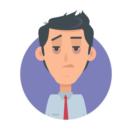 Man Avatar Web Button. Indifferent Male Emotion