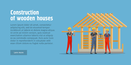 house under construction: Construction of Wooden House Web Banner. Stock Photo