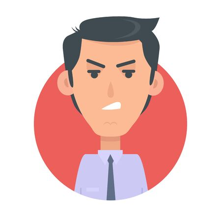 userpic: Angry Man Avatar Web Button. Wicked Male Emotion Stock Photo