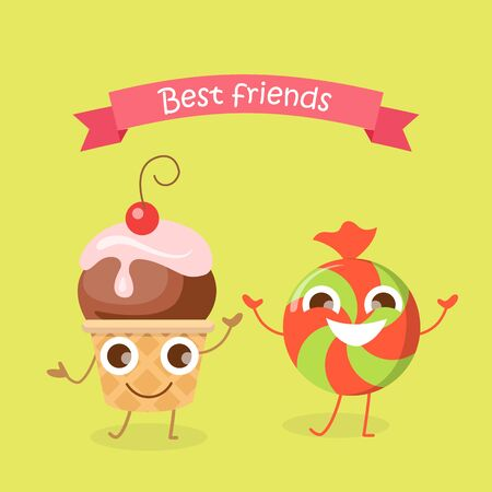 Best Friends Caramel Candy and Cupcake Characters Stock Photo