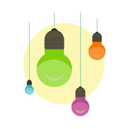 ight: Idea Concept Background. Glowing Light Bulb