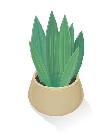 pot leaf: Flower in Pot Icon. Green Nature, Leaf, Gardening. Stock Photo