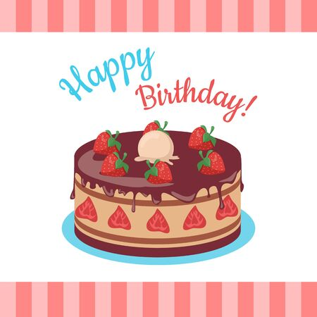 Happy Birthday Cake with Strawberries Isolated.