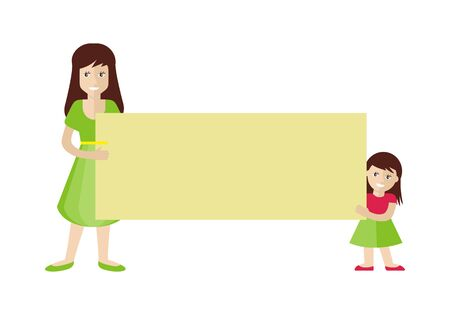 message board: Woman and Girl Holding Blank Message Board
