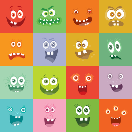happy smile: Smiling Monsters Set. Happy Germ Smile Characters